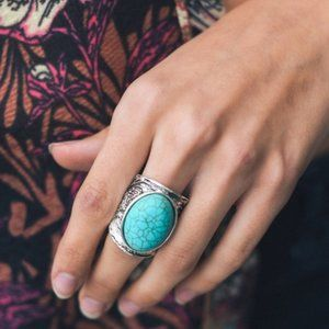 Round Turquoise Stone Silver Ring